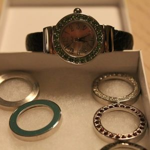 Milano cuff watch with interchangeable bezels